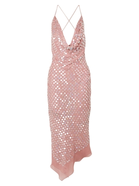 Pink Sequined Silk Dress