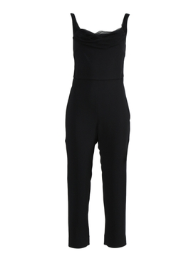 Black Silk Cropped Jumpsuit