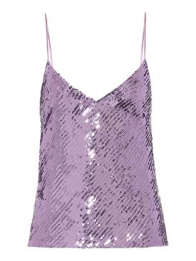 Purple Mirrored Sequin Camisole