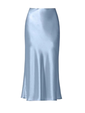 Valletta Satin Midi Skirt SILVER BLUE