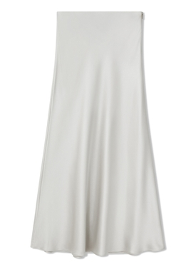 Valletta Satin Midi Skirt Platinum