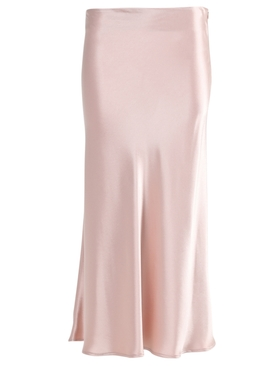 Rose Nude Valletta Satin Midi Skirt