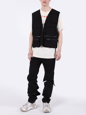 Multiple pocket logo vest BLACK