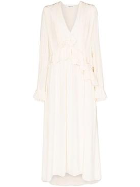Vanilla Ruffled Long-Sleeve Dress