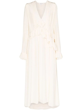 Victoria Beckham - Vanilla Ruffled Long-sleeve Dress - Women