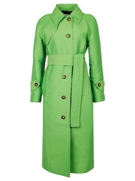 BELTED TRENCH COAT, LIME GREEN