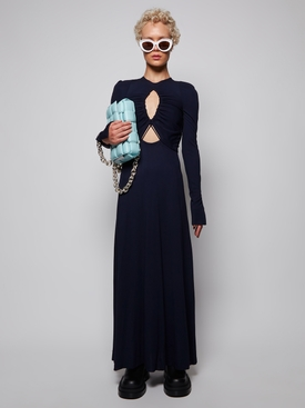 Triangle cut-out maxi dress navy