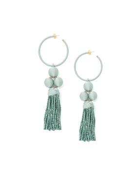 Green Cha Cha tassel hoop earring