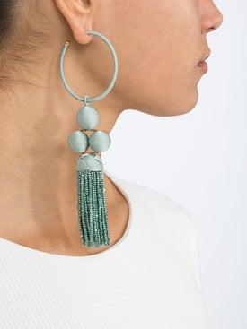Rebecca De Ravenel - Green Cha Cha Tassel Hoop Earring - Women