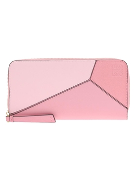 Light Pink Puzzle Zip Around Wallet
