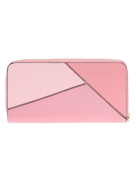 Light Pink Puzzle Zip Around Wallet