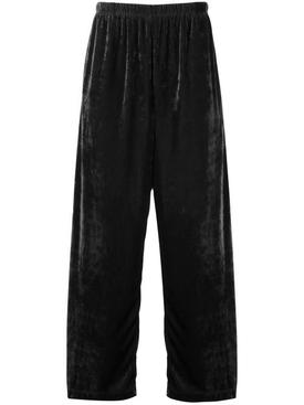 Slackened velvet track trousers BLACK