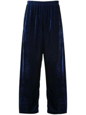 Slackened velvet track trousers BLUE
