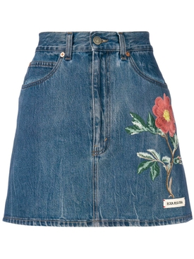 floral embroidery denim skirt BLUE