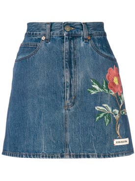 Gucci - Floral Embroidery Denim Skirt - Women