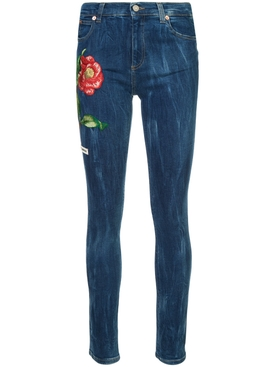 Embroidered denim jeans BLUE