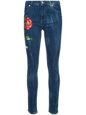 Embroidered denim jeans BLUE
