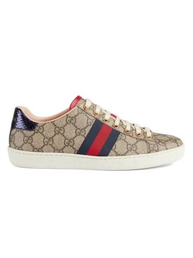 Gucci - Red And Purple Gg Supreme Sneakers - Sneakers