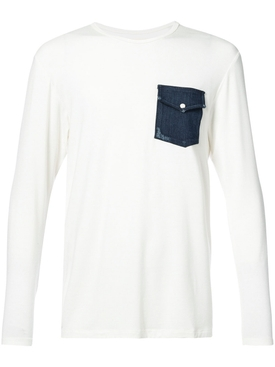 denim pocket long sleeved T-shirt