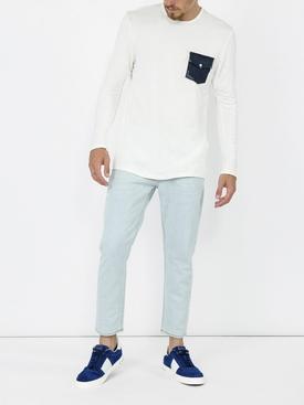 denim pocket long sleeved T-shirt