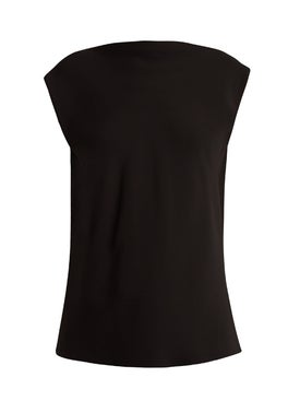 The Row - Sandra Draped-back Silk Top Black - Women