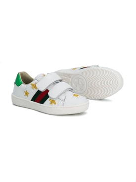 Web bee and star embroidered sneakers WHITE