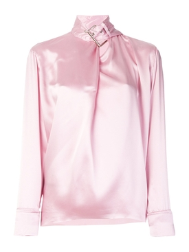 satin buckle neck blouse PINK