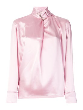 Marques'almeida - Satin Buckle Neck Blouse Pink - Long Sleeved