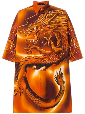 Balenciaga - Dragon Button Down Shirt Orange - Short Sleeves