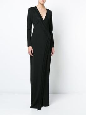 Maxi fringe trimmed dress BLACK
