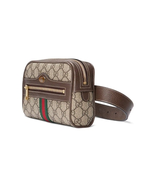 brown Ophidia GG Supreme small belt bag