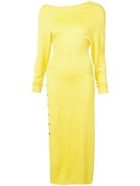 Paco Rabanne - Asymmetric Side Slit Dress Yellow - Long-sleeve