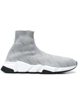 Balenciaga - Logo Printed Speed Sneakers Grey - Men