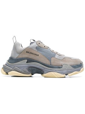 Balenciaga - Black And Grey Two-tone Fabric Triple S Sneakers Multicolor - Men