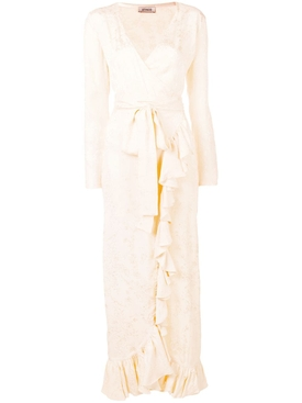 satin jaquard dress WHITE