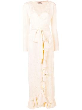satin jaquard dress WHITE