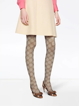 Beige GG pattern tights