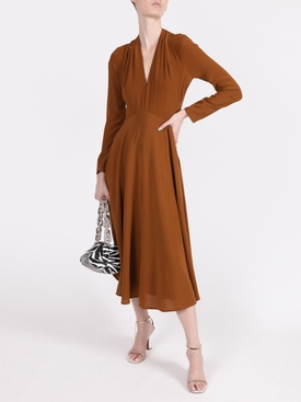 Silk Bow Back Long Sleeve Dress