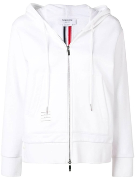 Center-Back Stripe Zip-Up Hoodie WHITE
