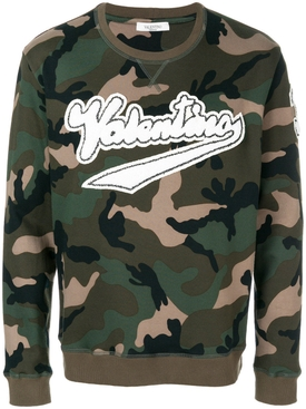 logo patch camouflage sweatshirt
