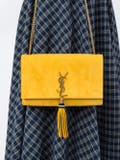 Saint Laurent - Yellow Suede Kate Monogram Shoulder Bag - Women