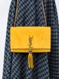Saint Laurent - Yellow Suede Kate Monogram Shoulder Bag - Women