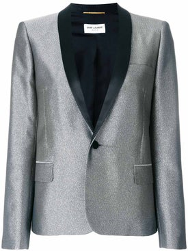 Saint Laurent - Metallic Fitted Blazer Silver - Women
