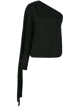 asymmetric sleeve blouse BLACK