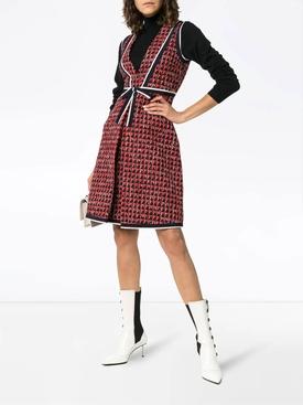 geometric tweed dress RED