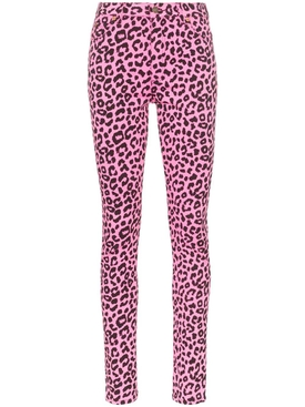 leopard print high-waisted skinny jeans