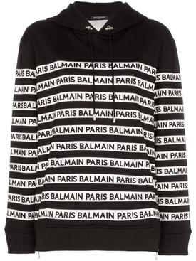 logo print tape cotton hoodie BLACK