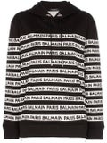Balmain - Logo Print Tape Cotton Hoodie Black - Sweatshirts