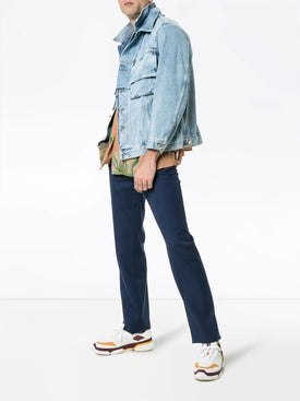 Duo - Duo Oversized Double Collar Denim Jacket - Men