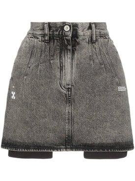 Off-white - High-waisted Acid Wash Denim Skirt - Women